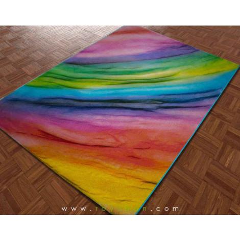 فرش سه بعدی 1.5 متری ساوین مدل رنگین کمان