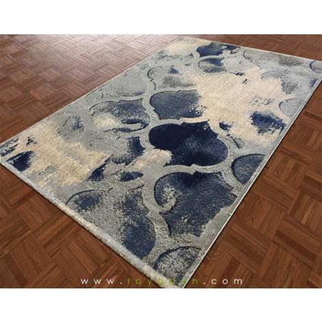 فرش طرح مراکشی آبی توسی