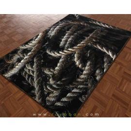 فرش سه بعدی 4 متری مدل طناب تیره
