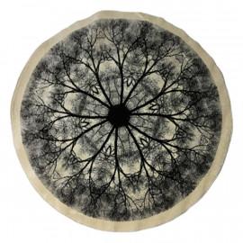 فرش دایره مدل شاخه رنگ کرم و مشکی