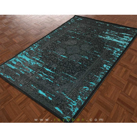 فرش وینتیج رنگ توسی و آبی