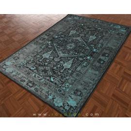 فرش وینتیج رنگ آبی و توسی