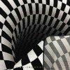 فرش سه بعدی 4 متری مدل سیاهچاله (سیاه و سفید)